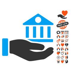 bank building service hand icon with love bonus vector image