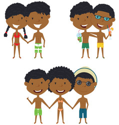 beach african-american people standing and vector image