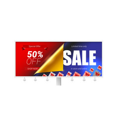 billboard with special offer sale in store and vector image