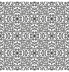 Black graphic flower pattern on white background vector