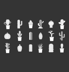 cactus icon set grey vector image