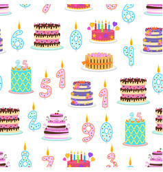 cartoon color birthday cakes and elements seamless vector image