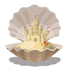 Cartoon island with a sand castle in the seashell vector