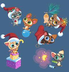 cartoon set little kittens playing vector image