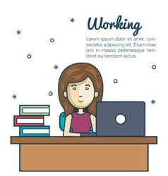 cartoon woman working laptop desk design vector image