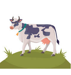 Cheerful cow on a green meadow vector