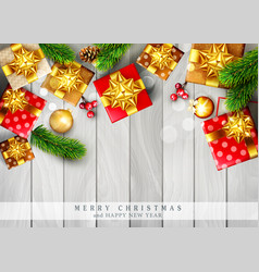 christmas template with decorations branches ate vector image