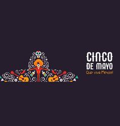 cinco de mayo mariachi hat banner culture icons vector image