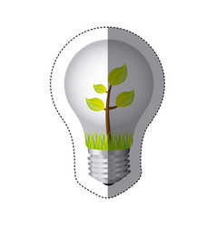 color sticker silhouette with bulb light and plant vector image