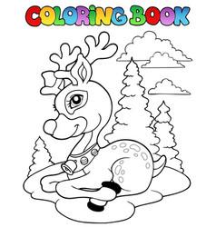 coloring book christmas reindeer 1 vector image