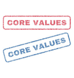 Core values textile stamps vector