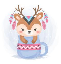 Cute boho deer vector