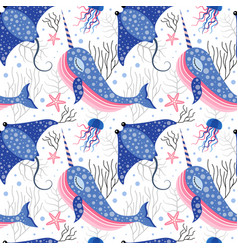 cute marine pattern with narwhal and stingray vector image