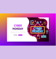 cyber monday neon landing page vector image