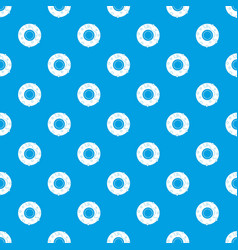 delicious donut dessert pattern seamless blue vector image