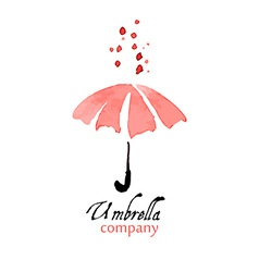 Design element pink umbrella with drops vector