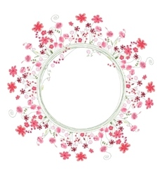 Detailed contour wreath with herbs and red flowers vector