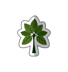 Dotted sticker tree with leaves and trunk vector