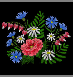 Embroidery stitches with chamomile red poppy vector