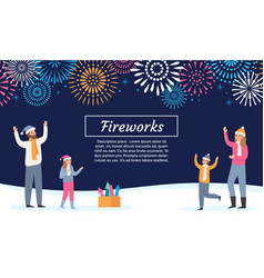 family watching firework explosions couple vector image
