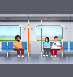 fat obese people inside subway metro train vector image