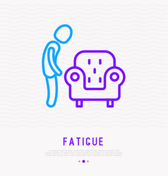 fatigue line icon man wants to sit in armchair vector image