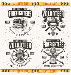 firefighters set four emblems or labels vector image