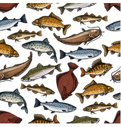 Fish pattern of seamless sea ocean fishes vector