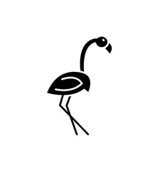 flamingo black icon sign on isolated vector image