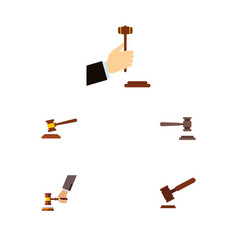 flat icon lawyer set of hammer law legal and vector image
