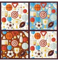 Four Flat Competition Sport Recreation Patterns vector image