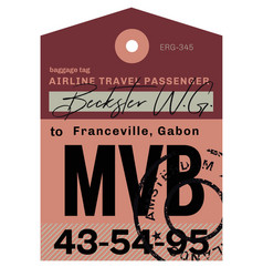 Franceville airport luggage tag vector