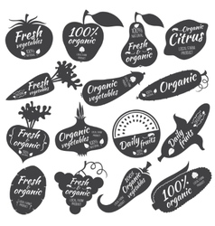 Fruits and vegetables stickers labels vector image