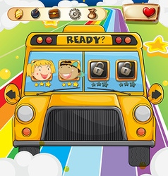Game template with children riding in bus vector image