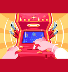 gamer playing sea battle arcade video game vector image