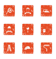 Global repair icons set grunge style vector