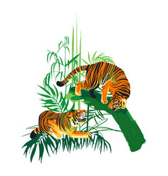 Graphic design with two aggressive fighting tigers vector