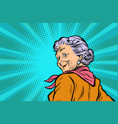 Gray haired grandmother a good look vector