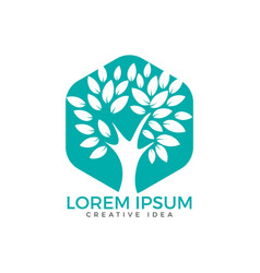 green tree logo design vector image