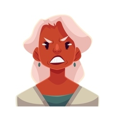 Grey haired old lady angry facial expression vector