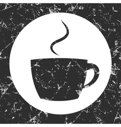 Grunge gray circle icon - cup vector