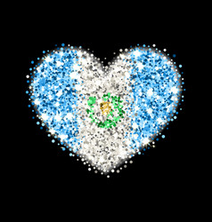 Guatemala flag sparkling heart badge vector