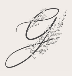 Hand drawn flowered g monogram and logo vector