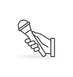 hand holding mic outline concept minimal vector image