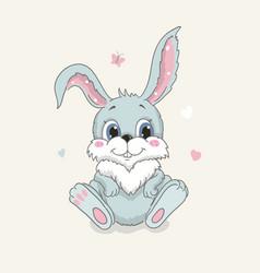 Happy cute bunny cartoon isolated vector