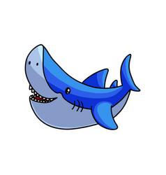 happy cute colorful grey blue sea shark vector image