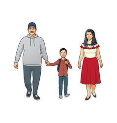 Happy friendly young latino family with mother vector