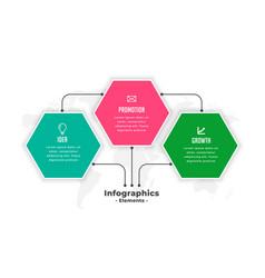 hexagonal shape three steps infographics template vector image