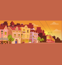 Historical cartoon city street on sunrise or vector