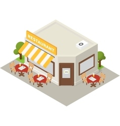 Isometric restaurant cafe building icon vector